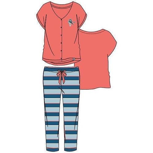 Woody pyjama dames zeemeeuw, koraal