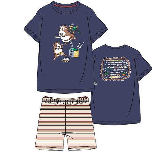 Woodypyjama heren cavia, gestreepte broek