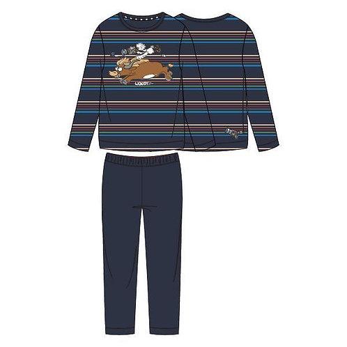 Woody pyjama heren gestreept stier, donkerblauw
