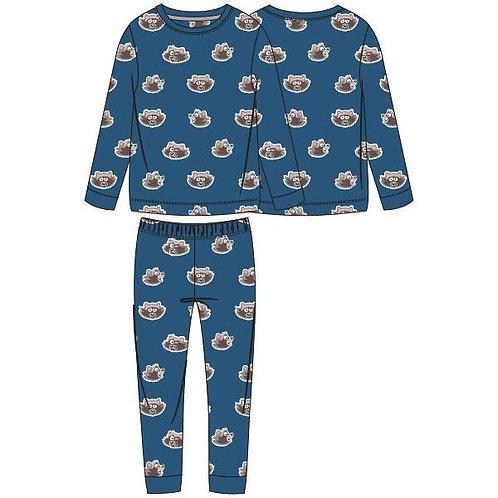 Woody pyjama jongens velours, all over print wasbeer