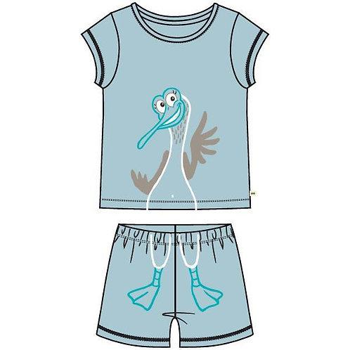 Woody pyjama meisjes doorloop zeemeeuw, lichtblauw