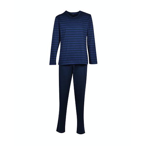 WOODY  pyjama heren v-hals, blauw gestreept