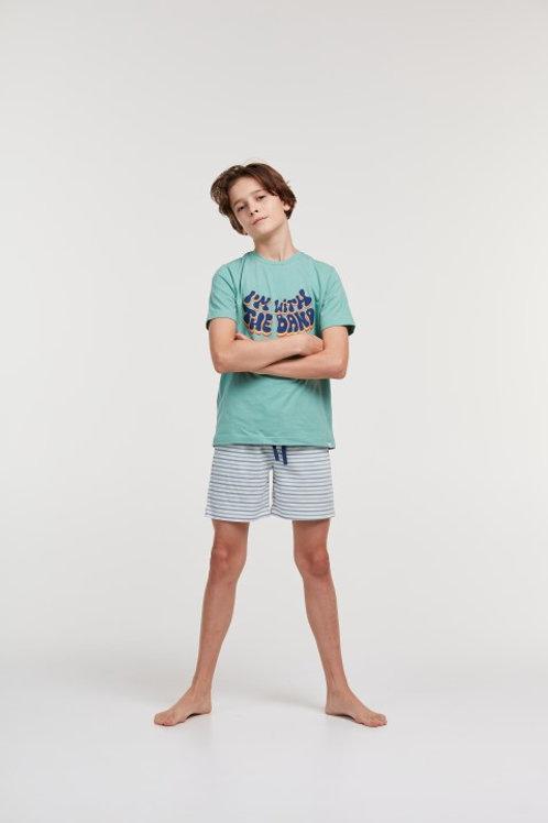 Woody boyzz pyjama jongens/heren, blauw groen