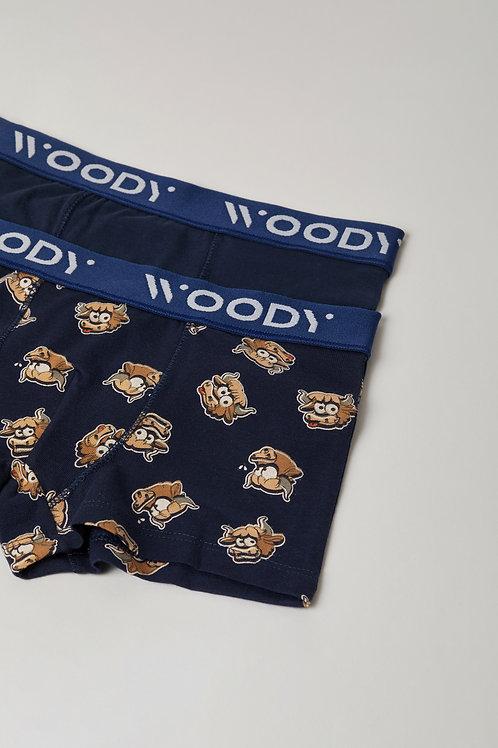 Woody duopack jongens boxer stier+effen, donkerblauw