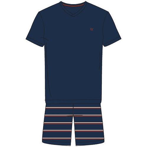 Woody pyjama heren effen t-shirt, gestreepte short blauw