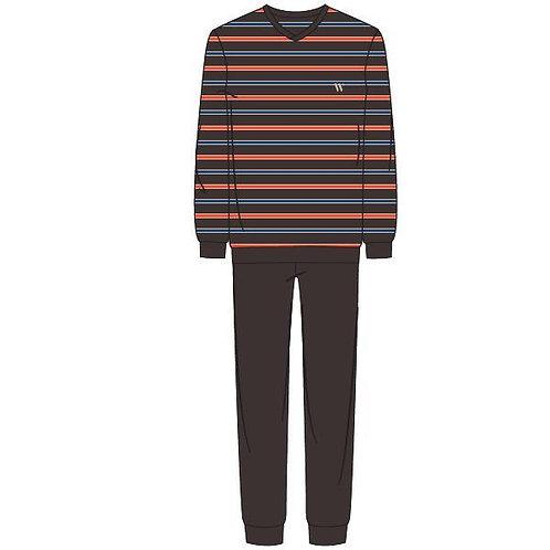 Woody pyjama heren gestreepte longsleeve, effen broek bruin