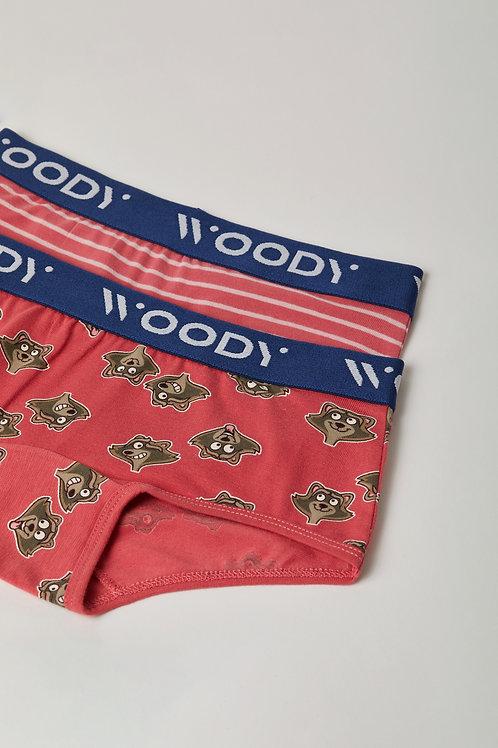 Woody duopack hipster meisjes , gestreept+ wasbeer roze