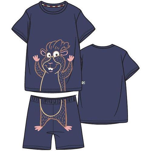 Woody pyjama jongens doorloop cavia, donkerblauw