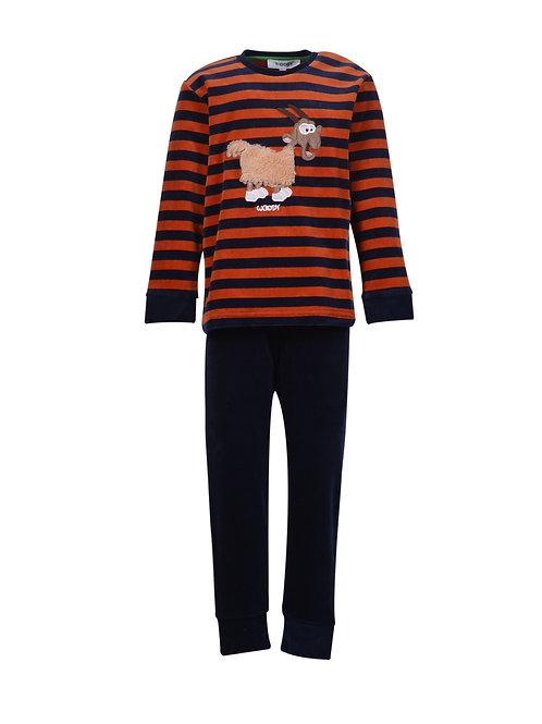 Woody pyjama jongens/heren velours, gestreept geit