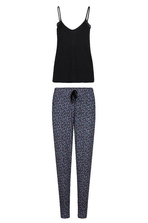 Lingadore pyjamaset black, topje + lange gebloemde broek
