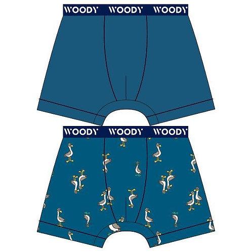 Woody duopack jongens boxer, effen + meeuw blauw