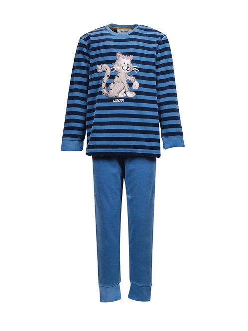 Woody pyjama jongens velours, gestreept kat