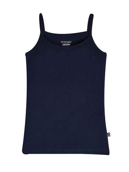 Woody lang topje, effen donkerblauw/blauw/blush