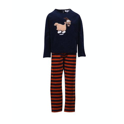Woody meisjes/dames pyjama velours, geit