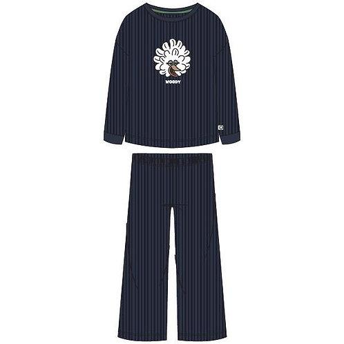 Woodypyjama velours meisjes/dames effen geribd kip, donkerblauw