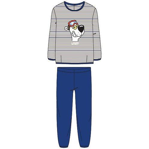 Woody pyjama unisex velours gestreept ijsbeer, blauw