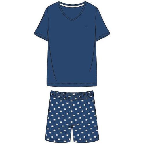Woody pyjama heren effen blauw, octopus print broek