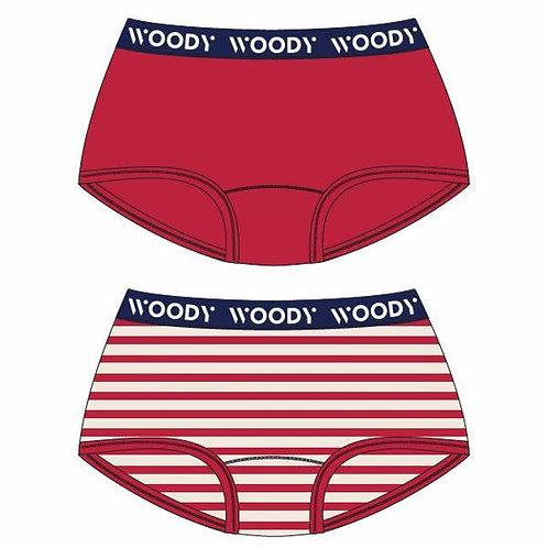 Woody shorty meisjes duopack, rood