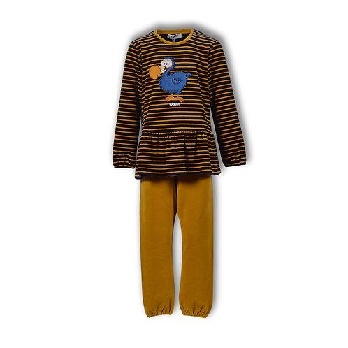 Woody pyjama meisjes velours , geel