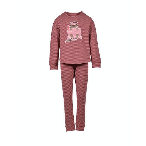 WOODY meisjes/dames pyjama wolf, volledig gestreept