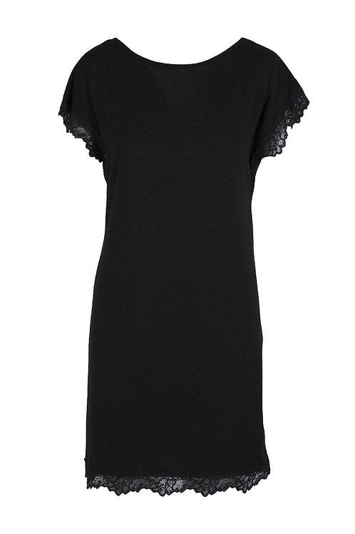 Lingadore nachtkleedje black met korte mouwen
