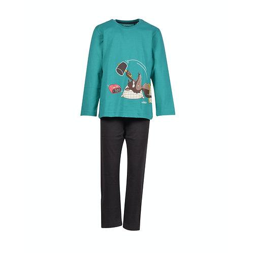WOODY jongens/heren pyjama wolf, aqua + effen broek