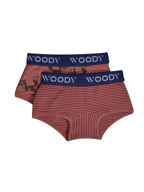 Woody duopack meisjes, blush gestreept + wolf