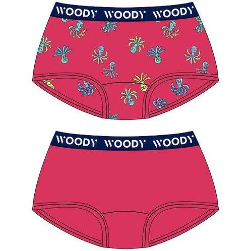 Woody duopack hipster meisjes, effen+octopus fushia