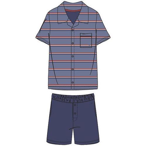 Woody pyjama heren gestreepte t-shirt doorknoop, blauw/beige
