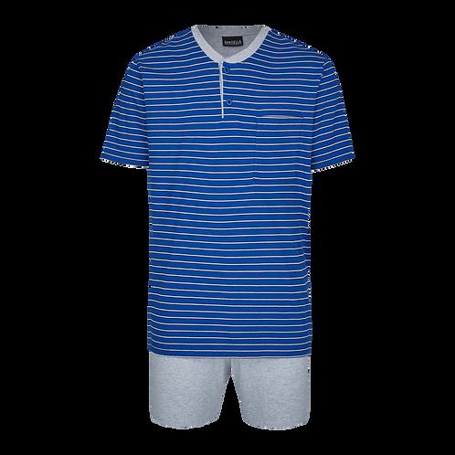 Ringella heren korte pyjamaset gestreept,blauw