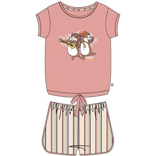 Woody pyjama meisjes/dames cavia, lichtroze