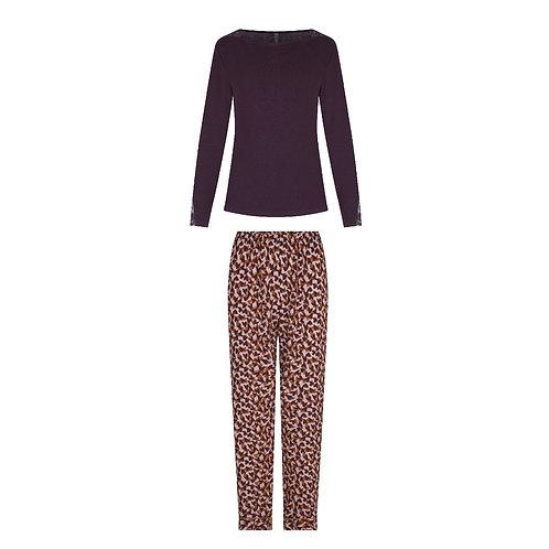 Lingadore pyjamaset effen top, hartenprint