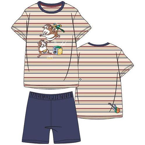 Woody pyjama jongens cavia, gestreepte t-shirt