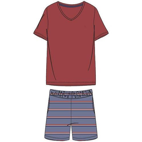 Woody pyjama heren gestreepte broek, rode t-shirt