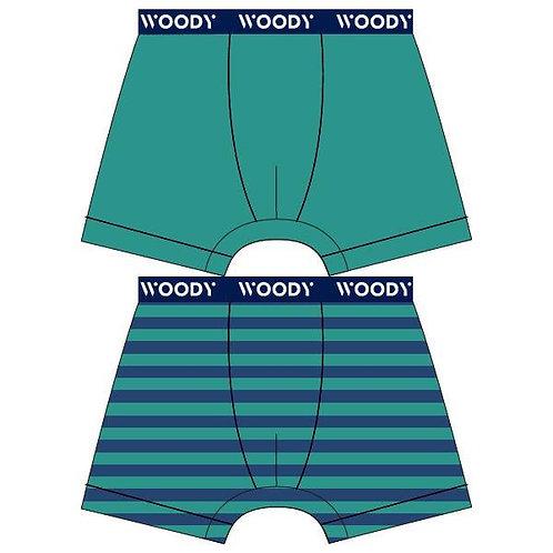 Woody duopack jongens boxer, effen + gestreept groen