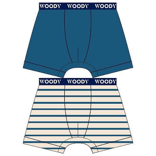 Woody duopack jongens boxer, effen + gestreept blauw
