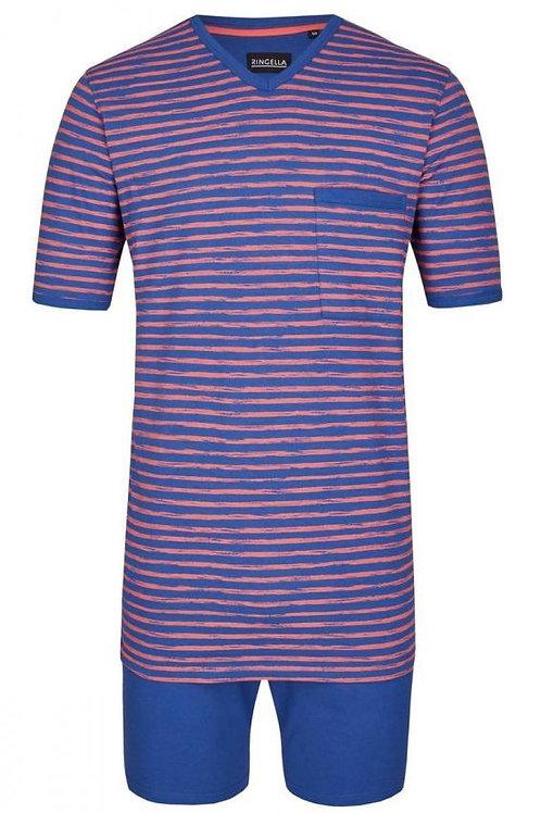 Ringella heren pyjamaset gestreept, donkerblauw