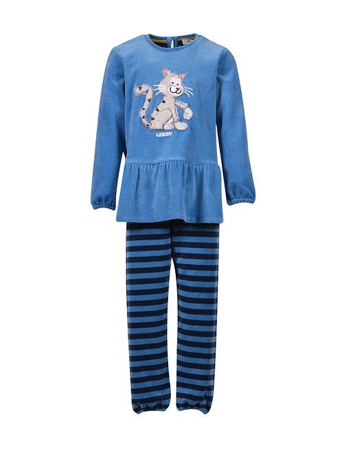 Woody velours pyjama meisjes, kat