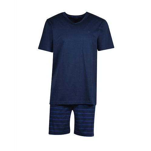 WOODY pyjama heren, korte broek blauw