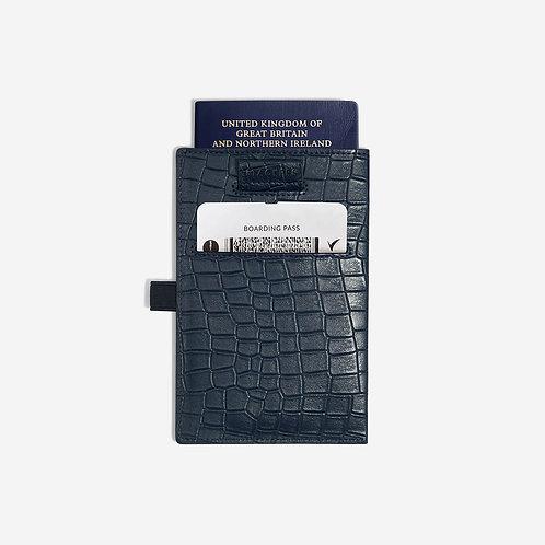 Stackers Navy Croc Passport Sleeve