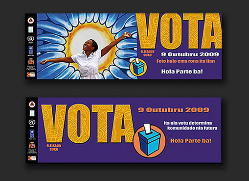 Timor-Leste Community Leaders Election 2009 - banners & stickers