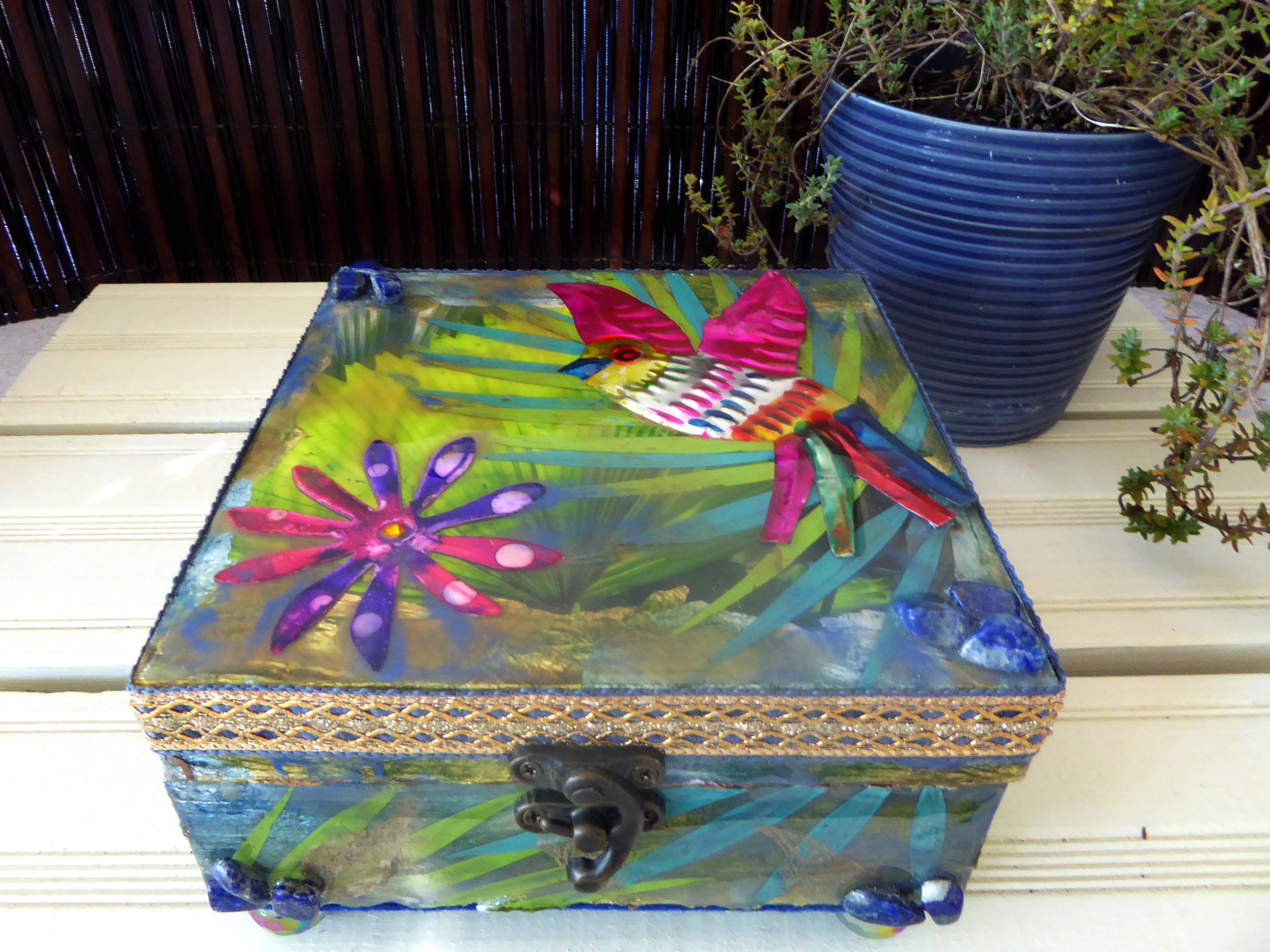 tin bird mexican art box