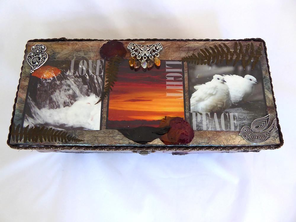 Love, Light, Peace Jewelry Box - top