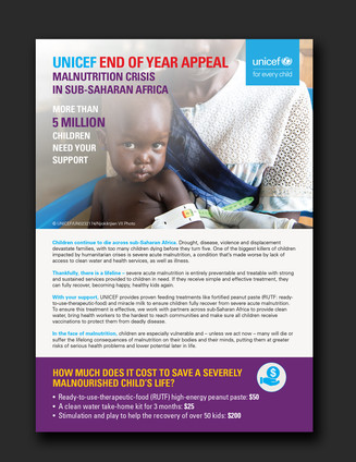"UNICEF funding appeal ""Malnutrition Crisis in Sub-Saharan Africa"""
