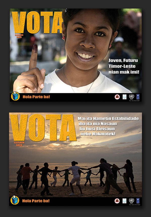 Timor-Leste Community Leaders Election campaign 2009 - leaflets & posters