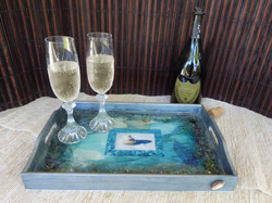 beach serving tray-in setting