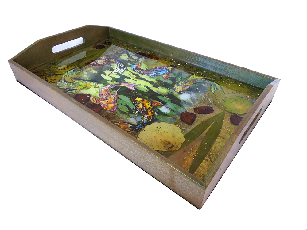 fish koi serving tray