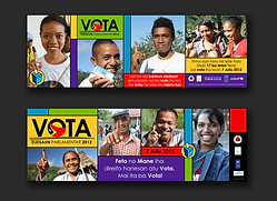 Timor-Leste Parliament Election campaign 2012 - billboards, banners, stickers & t-shirts