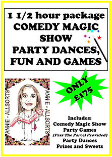 1.5 Hours Magic show, dancing, games