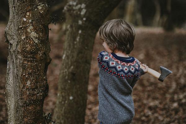 Junger Junge, der Holz hackt